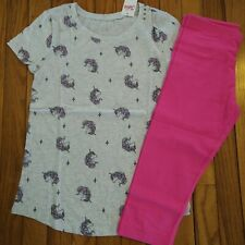 NWT Justice Girls Outfit Unicorn Print Top/Capri Leggings Size 12