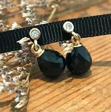 Beautiful Retired Pandora 14kt Gold & Black Onyx / CZ Earrings *NEW* w/Gift Wrap