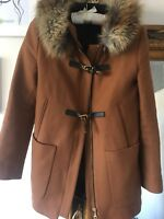 ZARA DUFFLE COAT WITH FUR TRIM HOOD JACKET PARKA CAMEL SOLD OUT size Small