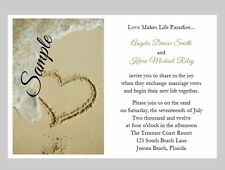 100 Personalized Beach Sand Tropical Heart Destination Wedding Invitations Set