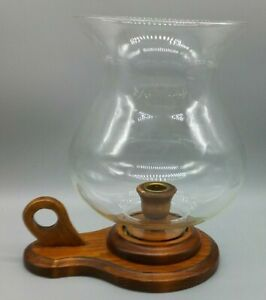 Wooden Candle Holder with Large Glass Hurricane Globe