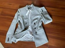 White House Black Market Gray Double-Breasted Blazer Jacket Career Modern 4 NWT