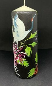 Japanese cranes with chrysanthemum. Handpainted unique and unusual candle.