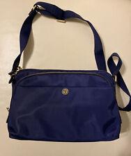 Talbots Navy Blue Nylon /Leather Trim Messenger Crossbody Shoulder Bag