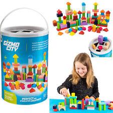100PC Wooden Building Blocks Kids Construction Wood Toy Brick Set Educational