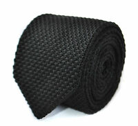 Frederick Thomas skinny plain black knitted tie with pointed end FT2006