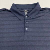 Haggar Cool18 Performance Polo Shirt Mens 2XL XXL Short Sleeve Navy Black Stripe