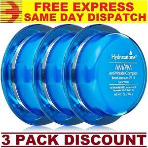 3 x Hydroxatone AM/PM Anti Wrinkle Aging Fine Lines Face Cream 30ml TRIPLE COMBO