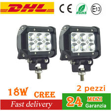 2X 18W CREE LED Work Light Bar FARO DA LAVORO FARETTO Trattore Fuoristrada 4X4