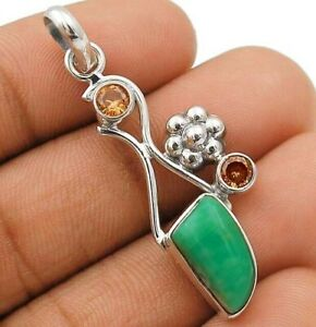 Natural Chrysoprase 925 Solid Sterling Silver Pendant Jewelry IT8-5