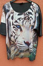 Tunika Longshirt Bluse Blusenshirt schwarz Tieger Motiv 48/50 neu
