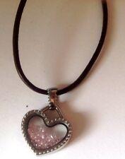 collier bijou cordelette pendentif couleur argent coeur cristaux rose  2042