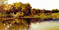 Oil painting arthur calame - bord du lac landscape by the lake free shipping art