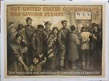 Original linen-backed 1918 WWI poster War Savings Stamp 30 1/2 X 40+  RARE!