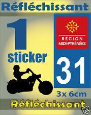 1 Sticker REFLECHISSANT département 31 rétro-réfléchissant immatriculation MOTO