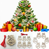 6Pcs Wooden Hanging Tags Christmas Tree Home Decor Craft Tags Embellishments DIY