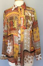 V Christina Sheer Blouse Fall Patchwork Orange Yellow Multi Long Sleeves Sz M
