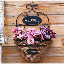 Wall mounted plant basket flower holder metal w wicker handmade nature pot