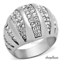 1.75 Ct Round Cut CZ Stainless Steel Wide Band Dome Fashion Ring Women's Sz 5-10