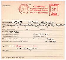 Musik Schöneberg 1940 Fachgruppe Raumgestaltung  Unikat Archivkarte