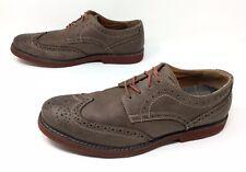 Men's GBX Olive Gray Leather Wingtip Brogue Lace Up Dress Oxfords Shoes Sz. 12 M