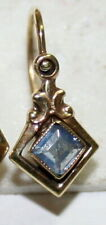 Paste Small Child Fine Earring c 1900 1 Single Antique Victorian 9K Gold Blue