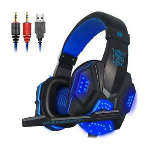 3.5mm Gaming Headset USB Wired LED Headphone Stereo with Mic For One PS4 PC UK