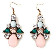 GREEN BLUE & ROSE PINK CRYSTAL RHINESTONE Gold Flower Dangle Drop Hook Earrings