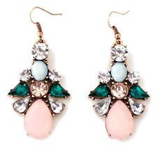 GREEN BLUE & ROSE PINK CRYSTAL RHINESTONE Gold Flower Dangle Drop Hook Earrings