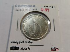 O184 Guatemala 1829 1/4 Quetzal AU+