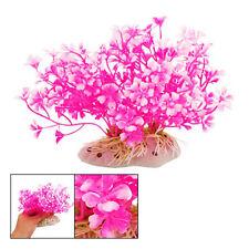 New Hot Pink Aquatic Dwarf Plastic Flower Plant Ornament for Fish Tank S*