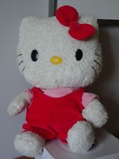 GROS CHAT HELLO KITTY 45 CM ROBE ROUGE TEE SHIRT ROSE