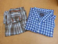 2 Mens Casual Shirts Long/Short Sleeve Bonmarche Blue Check Regatta Green Check