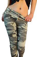 Gerades-Bein Damen-Hosen im Cargo, Militär-Stil mit Baumwolle