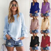 Fashion Women's Summer Blue Long Sleeve Casual Blouse Loose Cotton Tops T-Shirt