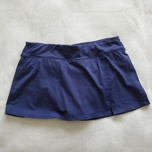 Lands' End Size 12 Skirted Tankini Bottoms Navy Blue Swimsuit Swim Wear Slit