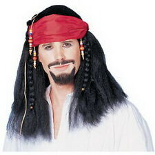 Pirate Buccaneer Wig W/ Attached Bandana Blk Synthetic Hair Character Wig