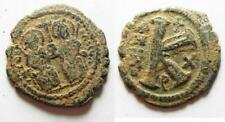 Zurqieh -aa8414- Byzantine. Justin Ii & Sophia Ae Half Follis.