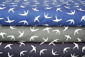 Rose & Hubble Swallows/Birds in Flight 100% Cotton Popin Fabric by the 1/4M*