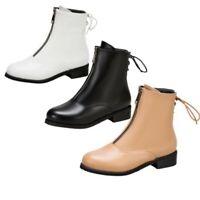 Women Ladies Comfort Biker Front Zipper Chunky Low Heel Ankle Boots 46/47/48 D