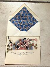 Vintage Greeting Card & Envelope Christmas Art Deco 1920s Shoppers New