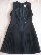 THIERRY MUGLER BLACK LACE UP BODICE DRESS /PLEATED MUGLER DRESS FRANCE