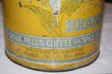 "ANTIQUE 9 x 7.5"" LILLY TIN LITHO COFFEE CAN SIOUX FALLS SD VINTAGE COUNTRY STORE"