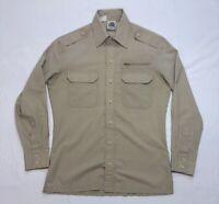 Vintage Kennington Shirt Size S Small Khaki Long Sleeve Military Men's Vtg