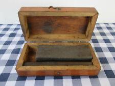 Vintage Sharpening Stones (2) Whetstone Wood Case, Fine/Medium Grit, Front Clasp