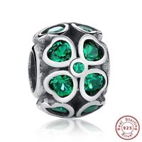 100% Authentic 925 Sterling Silver Green Lucky Four-Leaf Clover Charms Pandora