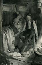 COUPLE~MAN,CHAIR~SICK WOMAN,BED~BH~1896 antique print