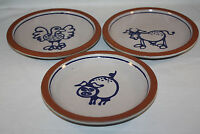 VINTAGE CHRISTIAN RIDGE POTTERY ROOSTER,PIG SET OF 3 SALAD PLATES 8""