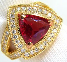 █$25000 GIA 4.88CT NO HEAT CLASSIC VIVID RED SPINEL DIAMOND RING 18KT UNHEATED
