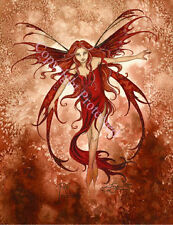 Amy Brown Fairy Greeting Gift Card Fire Element Red New